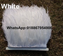 20 meters Height 8-10cm White Ostrich Feather fringe Ostrich feather Trimming on Satin Header freeshipping