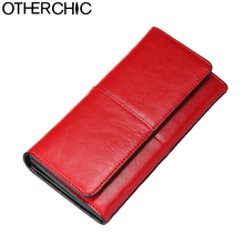 OTHERCHIC Ladies Women Wallets Genuine Leather Purses Long Wallet Woman Elegant Female Red Women's Wallets Leather Wallet Purse(China)