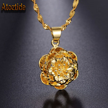 Atoztide Brand Gold Color Women Daisy Flower Necklace Rose Flower Collar Necklace Fashion Gift(China)