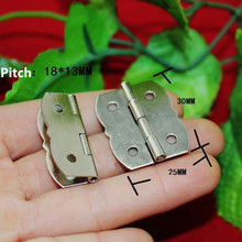 Small Flower Cabinet Door Hinge,Door Butt Hinges For DIY Box,4 Holes Bag Accessory,30*25mm,White With Screws,40Pcs