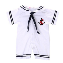 Newborn Baby Clothes White Navy Sailor Uniforms Summer Baby Rompers Short Sleeve 1PC Jumpsuit Baby Boy Girl Clothing Hot 2017
