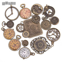 Antique Metal Zinc Alloy Mixed Clock Charms Pendant for Jewelry Making Diy Decorative Clock Charms 15Pcs/lot C8498(China)