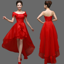 ladies formal dress front short long back red  graduation pageant dresses party evening elegant for wedding women W2989