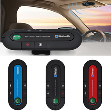 2017 Slim Bluetooth Car Kit Universal Wireless Multipoint Magnetic Hands Free Bluetooth Car Kit libre voiture Speaker Visor Clip(China)