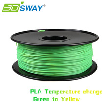 3DSWAY High Quality 3D Printer Material Filament PLA color changed by temp. 1.75mm/3.0mm 1kg for 3D printer Green to Yellow
