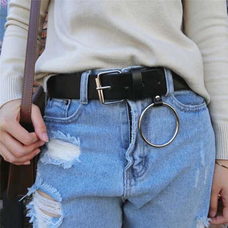 Metal Buckle Leather Belt Women Gold Round Buckle Leisure Jeans Wild Belt Pin Brown Black Strap Female Belts