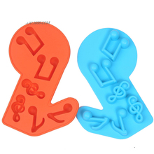Music Notes Shape 3D Silicone Cake Molds DIY Kitchen Ice Cube Tray Chocolate Soap Molds Baking Tools Random Color E037(China)