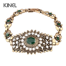 Bohemia Colorful Clover Bracelet For Women Fashion Gold Color Mosaic Crystal Vintage Look Bracelets Turkey Jewellery Wholesale(China)