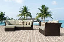 2017 6 piece Wicker Furniture Outdoor Rattan Furniture High Back Sofa Set with Pillows