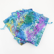 50pcs/lot 9x12cm Blue Coral Organza Bag Drawable Charms Candy Jewelry Packaging Bag Pouches Cute Small Organza Gift Bags