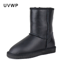 Fashion Waterproof Snow Boots Top Quality Genuine Sheepskin Leather Women's Winter Boots 100% Natural Fur Warm Wool Women Boots(China)