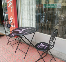 New creative milk tea cold bar coffee shop balcony outdoor garden leisure folding tables and chairs combination