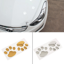1 Pair Cool Design Paw Car Sticker 3D Animal Dog Cat Bear Foot Prints Footprint 3M Decal Car Stickers Silver Gold Free Shipping