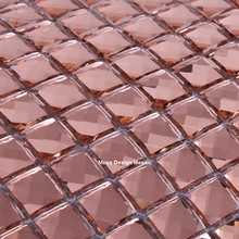 15mm 13 beveled edges Pink Diamond Mirror Glass Mosaic Tile for wall sticker showroom KTV Bar Display cabinet borders DIY deco(China)