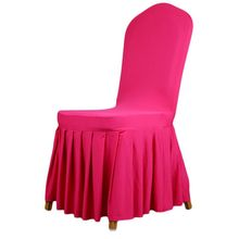 Newest 1 pcs Solid color Pleated skirt Elastic Chair Sets Dining Chair Set Stool Set Back Cover For Home Hotel Restaurant Office