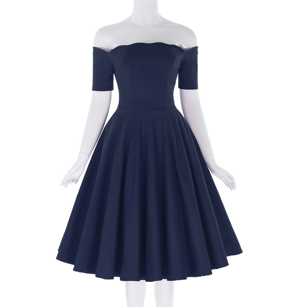 Belle Poque 17 Women Dress Robe Vintage Off Shoulder Black Summer Dress Jurken 1950s 60s Retro Rockabilly Swing Party Dresses 24