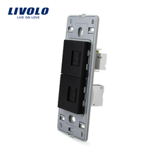 Livolo US standard two gang Base of Telephone and Computer Socket / Outlet , Wall Socket Accessory, VL-C5-1TC-12(China)