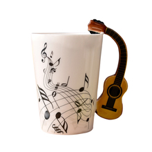 New Design Ceramic Music Score Design Cups Mugs with Violin Guitar Hand Shank Coffee Cups(China)