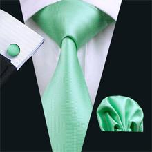 2016 Design New Men's Necktie Green Solid Color Plain Silk Tie Sets Ties for mens gravata For Wedding Party Business FA-371