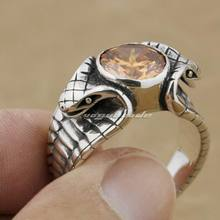 LINSION 925 Sterling Silver King Cobra Snake Orange CZ Stone Fashion Biker Rock Punk Style 9K011 US Size 6.5 to 13(China)