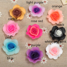 12pc/lot 25mm Embellishment Polymer Clay Fimo Rose Shiny Flower Beads Making Brooch Necklace Crafts Rings Hair Decoration Supply(China)