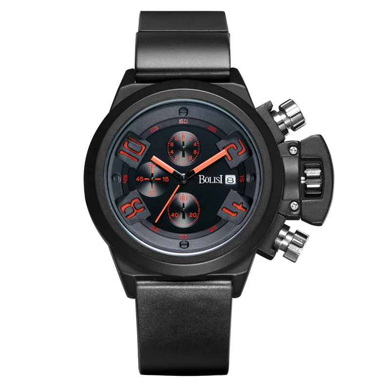 BOLISI Chronograph Watch Mens Business Leather strap  Quartz Wristwatch  with  Complete Calendar &amp; Water Resistant<br>