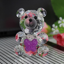 JQJ Crystal Glass Animals Bear miniature figurines Feng shui Miniatures Desk Ornaments Christmas nativity figurines Crafts(China)