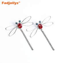 FADJOLLYS Luxury crystal dangle earrings for women accessories Trendy silver plated dragonfly long drop earrings girls jewelry