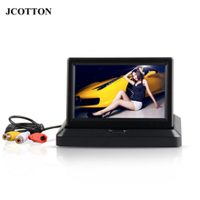"5"" Car Rear View System Foldable TFT Color LCD Car Reverse Rearview 5 inch 16: 9 Car Security Monitor for Camera DVD VCR 12V(China)"