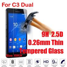 Cheap New 9H 2.5D 0.26mm Phone LCD Display Accessories Tempered Temper Glass Cristal For Sony Xperia Xpera C3 Dual D 2533
