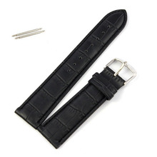 New Arrival  High Quality Soft Sweatband Genuine Leather Strap Steel Buckle Wrist Watch Band 22mm black     T-east
