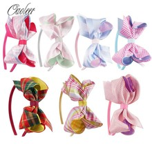 7pcs/lot Scotland Style Stain Ribbon Hair Bow With Hair Band Handmade High Quality Girl Hairbands Kids Hair Accessories