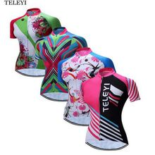 TELEYI Team Women Ropa Ciclismo Outdoor Sport Cycling Jersey Bike Girls Breathable T-shirt Clothing  XS-4XL