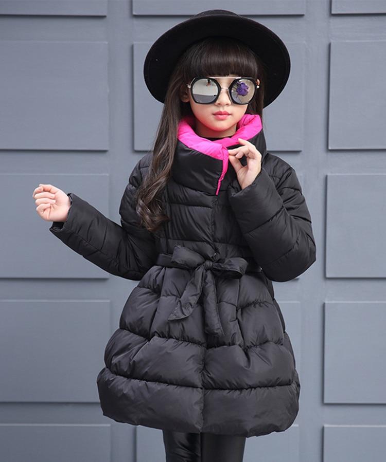 Winter Girls Down Jackets Warm Long-section Solid Cotton-padded Girls Outerwear And Coats 5-10Y SYÎäåæäà è àêñåññóàðû<br><br>