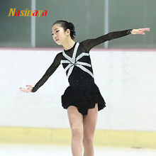 Figure Skating Dress Ice Skirt Gymnastics Competition Customized Costume Adult Child Girl Performance Black Stripes Rhinestone(China)