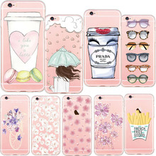 Newest Beautiful Flowers Macaron Chips Cool Glasses Daisy Heart Girl Phone Cases For iphone 6s 5 5s se 6 7 Plus  Soft TPU Covers