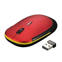 Ultra-Slim Mini USB Wireless Optical Wheel Mouse Mice for All Laptop HP Dell(red)(China)
