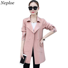 Neploe Solid Long Coat Woman Slim Fit Jacket 2017 Autumn Long Sleeve Turn-down Collar Coats Fashion Pocket Design Outwear 33824(China)