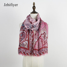 jzhifiyer fashion silk scarfs paisley 45G georgette shawls soft material long silkly scarf shawls sarong beach pareo cape print
