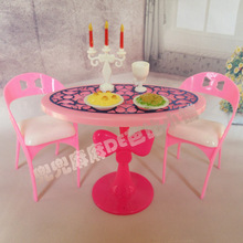 Hot Sale Doll House Miniature Furniture Dining Table Sets For Barbie doll Graceful Stylish Retro Girl Kid Child Toys
