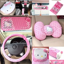 Pink Hello Kitty Car-Styling Car Seat Interior Accessories Hello Kitty Car Steering Wheel Cover Safty Belt Handbrake Gears Cover(China)