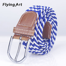 Men Woven Elastic Belt High Quality Braided Woven Elastic Stretch belt For woman man pin buckle belt 100cm and 125cm(China)