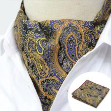 LJT01-09 Men's Gold Yellow Floral Paisley Silk Ascot Cravat Tie Set Vintage Hot Neck Tie Pocket Square Handkerchief Suit Set(China)