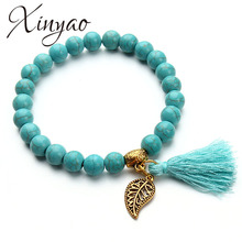2017 Boho Natural Stone Turquoises Beads Bracelet Gold Color Leaf Tassel Charm Bracelets Bangle For Women Pulseras Mujer F2833(China)