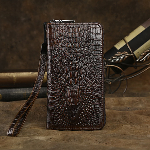 Cowhide Crocodile pattern genuine Leather Men Long Clutch bag Wallet Purse Male Wallets Purse Zipper