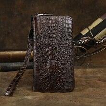 Cowhide Crocodile pattern genuine Leather Men Long Clutch bag Wallet Purse Male Wallets Purse Zipper