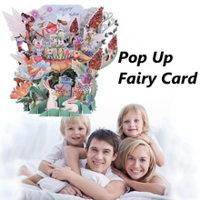 1pc Greeting Card Postcards Flower Fairy DIY 3D Pop Up Greeting Card Laser Cut Origami Paper Craft Art Birthday