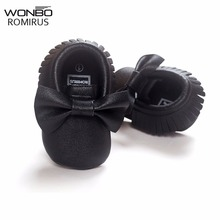 NEW Styles Baby Soft PU Leather Tassel Moccasins Girls Bow Moccs First walkers Shoes Moccasin Black bow design baby shoes(China)