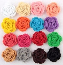 Free Shipping!2016 New 60pcs/lot 16colors Fashion handmade felt rose flower Diy for hair accessories headband ornaments