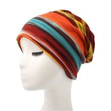 Colorful Striped Print Knitted Cotton Hat Women Headwear Head wrap Hair Band Turban Bandana Bandage Hijab Accessories India Caps(China)
